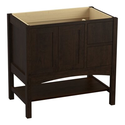 Marabou 36 Vanity with 2 Doors and 2 Drawers on Right Finish: Claret Suede