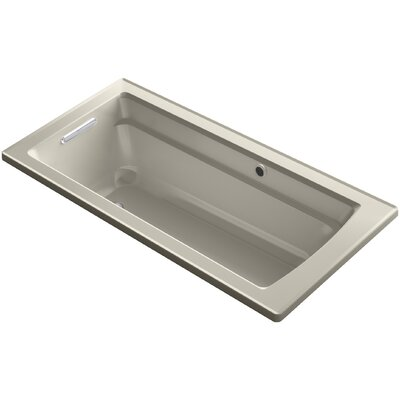 Archer Drop-in Bath with Bask� Heated Surface and Reversible Drain Finish: Sandbar