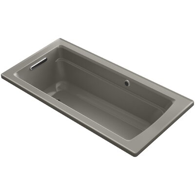 Archer Drop-in Bath with Bask� Heated Surface and Reversible Drain Finish: Cashmere