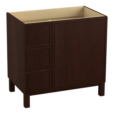 Jacquard 36 Vanity with Furniture Legs, 1 Door and 3 Drawers on Left Finish: Cherry Tweed