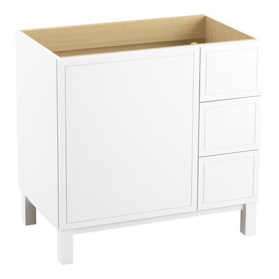 Jacquard� 36 Vanity with Furniture Legs, 1 Door and 3 Drawers on Right Finish: Linen White