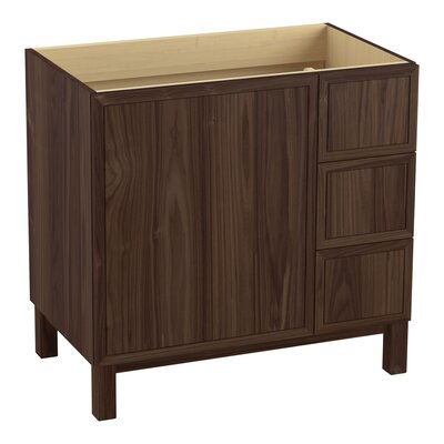 Jacquard 36 Vanity with Furniture Legs, 1 Door and 3 Drawers on Right Finish: Terry Walnut