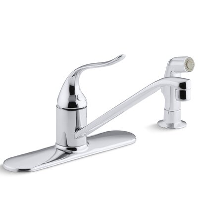 Coralais Single-Control Kitchen Sink Faucet with 10 Swing Spout, Ground Joints and Sidespray
