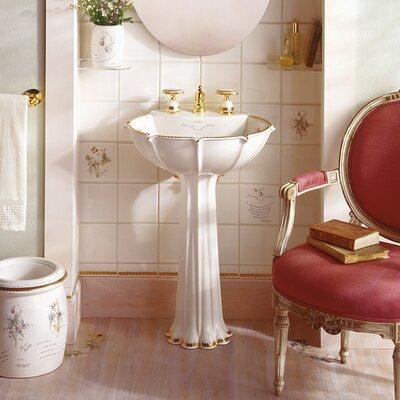Prairie Flowers Ceramic 22 Pedestal Bathroom Sink