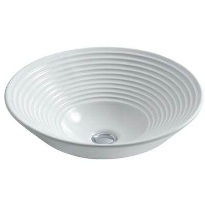Artist Editions Turnings Above-Counter Circular Vessel Bathroom Sink Sink Finish: White