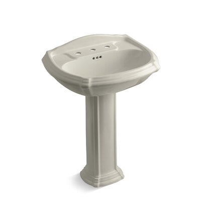 Portrait� Ceramic 27 Pedestal Bathroom Sink with Overflow Finish: Sandbar, Faucet Hole Style: 8 Widespread