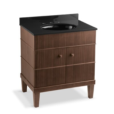 Evandale 30 Single 3-Piece Vanity Set Base Finish: Sapele