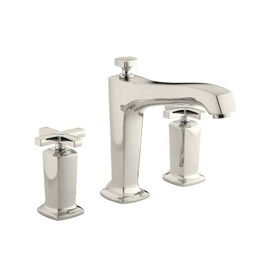 Margaux Deck-Mount Bath Faucet Trim for High-Flow Valve with Non-Diverter Spout and Cross Handles, Valve Not Included Finish: Vibrant Polished Nickel