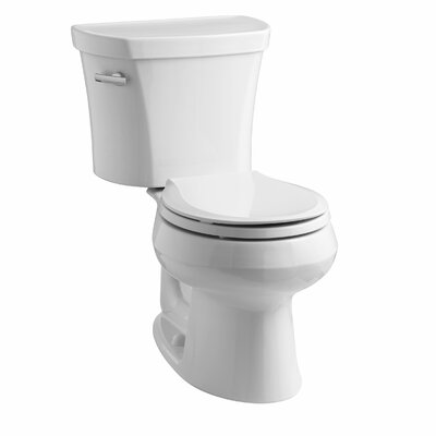 Wellworth Two-Piece Round-Front 1.28 GPF Toilet with Class Five Flush Technology, Left-Hand Trip Lever and Insuliner Tank Liner Finish: White