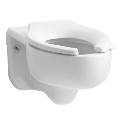 Stratton Wall-Mounted 3.5 GPF Water-Guard Flushometer Valve Elongated Blow-Out Toilet Bowl with Top Inlet, Requires Seat Finish: White