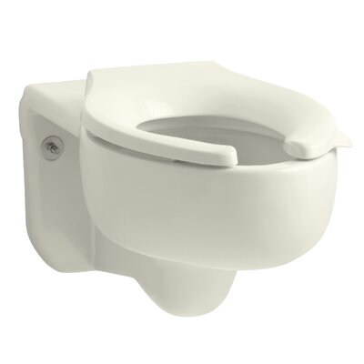 Stratton Wall-Mounted 3.5 GPF Water-Guard Flushometer Valve Elongated Blow-Out Toilet Bowl with Top Inlet, Requires Seat Finish: Biscuit