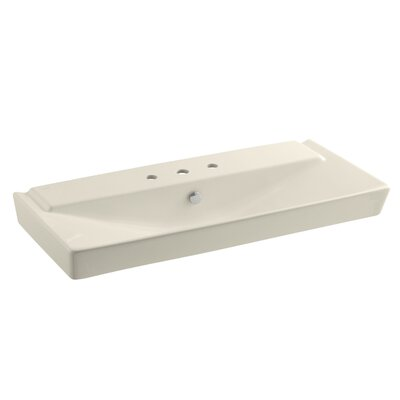 Reve Ceramic 40 Pedestal Bathroom Sink with Overflow Finish: Almond