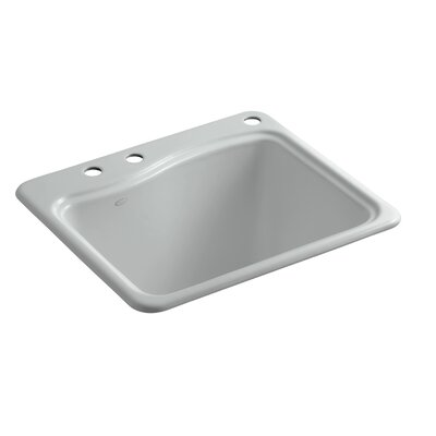 River Falls Top-Mount Utility Sink with 3 Faucet Holes - 2-Holes On Deck On The Left and Right-Hand Accessory Hole Finish: Ice Grey