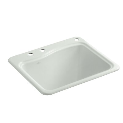River Falls Top-Mount Utility Sink with 3 Faucet Holes - 2-Holes On Deck On The Left and Right-Hand Accessory Hole Finish: Sea Salt
