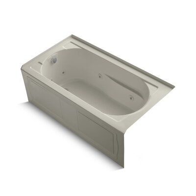 Devonshire Alcove Whirlpool Bath with Integral Apron, Tile Flange, Left-Hand Drain and Bask Heated Surface Finish: Sandbar