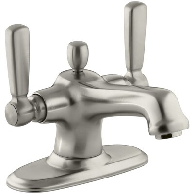 Bancroft Monoblock Single-Hole Bathroom Sink Faucet with Escutcheon and Metal Lever Handles Finish: Vibrant Brushed Nickel
