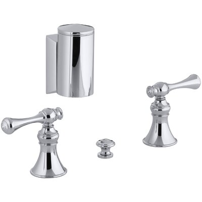 Revival Below-The-Rim Horizontal Swivel Spray Bidet Faucet with Traditional Lever Handles Finish: Polished Chrome