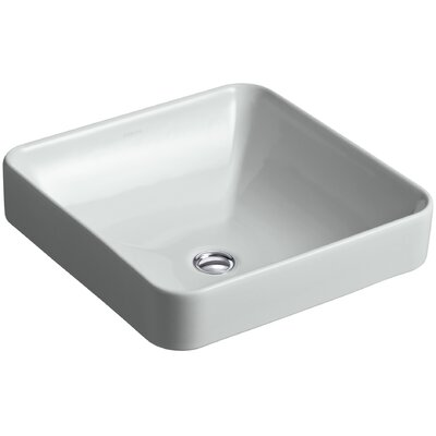 Vox Ceramic Square Vessel Bathroom Sink with Overflow Finish: Ice Grey