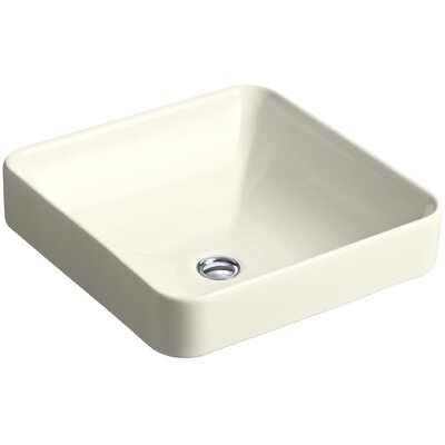 Vox Ceramic Square Vessel Bathroom Sink with Overflow Finish: Biscuit