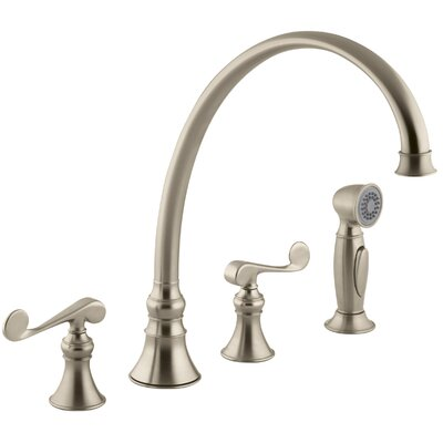 Revival 4-Hole Kitchen Sink Faucet with 11-13/16 Spout, Matching Finish Sidespray and Scroll Lever Handles Finish: Vibrant Brushed Bronze