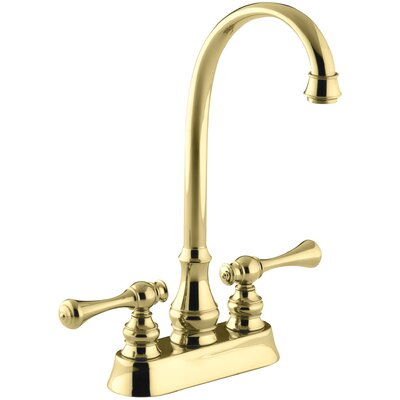 Revival Two-Hole Centerset Bar Sink Faucet with Traditional Lever Handles Finish: Vibrant Polished Brass