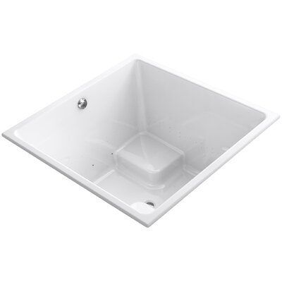 Underscore 48 x 48 Drop-in BubbleMassage Air Bathtub with Bask Heated Surface and Center Drain Finish: White