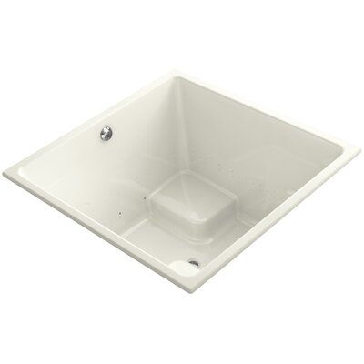 Underscore 48 x 48 Drop-in BubbleMassage Air Bathtub with Bask Heated Surface and Center Drain Finish: Biscuit