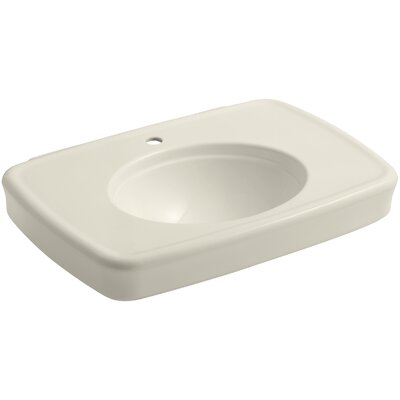 Bancroft� Ceramic 31 Pedestal Bathroom Sink with Overflow Sink Finish: Almond, Faucet Mount: 8 Widespread