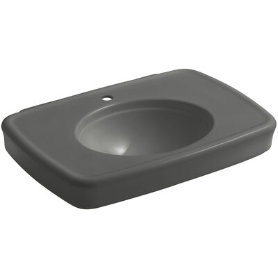 Bancroft� Ceramic 31 Pedestal Bathroom Sink with Overflow Sink Finish: Thunder Grey, Faucet Mount: Single