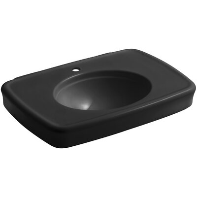 Bancroft� Ceramic 31 Pedestal Bathroom Sink with Overflow Sink Finish: Black Black, Faucet Mount: 8 Widespread