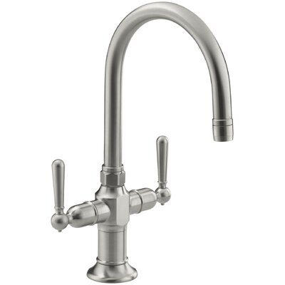 Hirisesingle-Hole Bar Sink Faucet with Lever Handles Finish: Brushed Stainless
