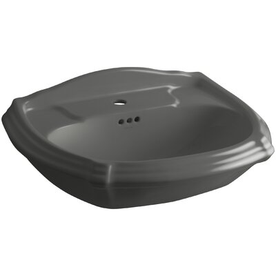 Portrait� Ceramic 27 Pedestal Bathroom Sink with Overflow Finish: Thunder Grey, Faucet Hole Style: 4 Centerset