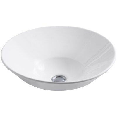 Conical Bell Above-Counter Circular Vessel Bathroom Sink Finish: White