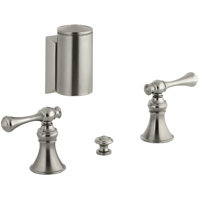 Revival Below-The-Rim Horizontal Swivel Spray Bidet Faucet with Traditional Lever Handles Finish: Vibrant Brushed Nickel
