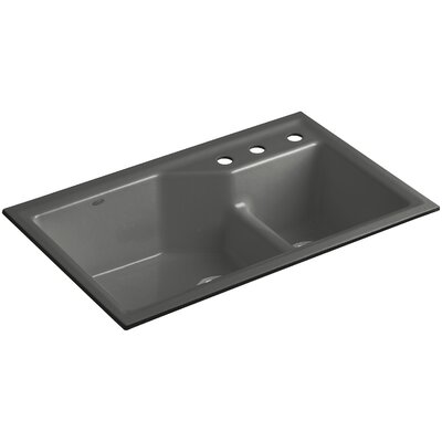 Indio 33 x 21-1/8 x 9-3/4 Under-Mount Smart Divide Large/Small Double-Bowl Kitchen Sink Finish: Thunder Grey, Faucet Drillings: 3 Hole