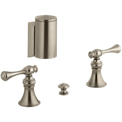 Revival Below-The-Rim Horizontal Swivel Spray Bidet Faucet with Traditional Lever Handles Finish: Vibrant Brushed Bronze