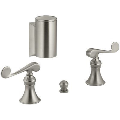 Revival Below-The-Rim Horizontal Swivel Spray Bidet Faucet with Scroll Lever Handles Finish: Vibrant Brushed Nickel