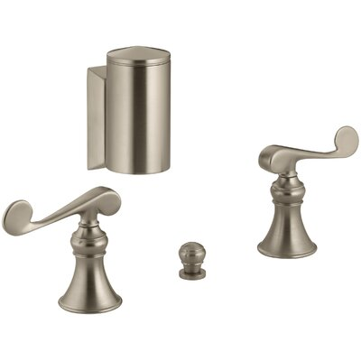 Revival Below-The-Rim Horizontal Swivel Spray Bidet Faucet with Scroll Lever Handles Finish: Vibrant Brushed Bronze