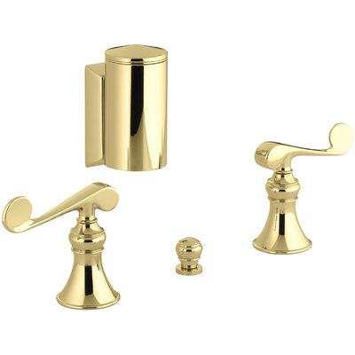 Revival Below-The-Rim Horizontal Swivel Spray Bidet Faucet with Scroll Lever Handles Finish: Vibrant Polished Brass