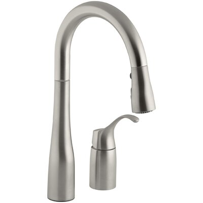 Simplice Two-Hole Kitchen Sink Faucet with 14-3/4 Pull-Down Swing Spout, Docknetik Magnetic Docking System, and A 3-Function Sprayhead Featuring The New Sweep Spray Finish: Vibrant Stainless