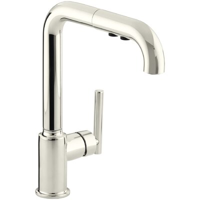 Purist Single-Hole Kitchen Sink Faucet with 8 Pullout Spout Finish: Vibrant Polished Nickel