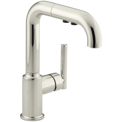 "Purist Single-Hole Kitchen Sink Faucet with 7"" Pullout Spout Finish: Vibrant Polished Nickel K-7506-SN"