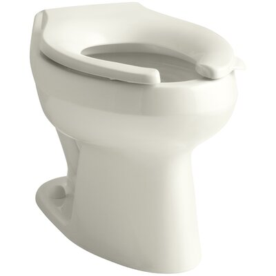Wellworth 1.6 or 1.28 GPF Flushometer Valve Elongated Flushometer Toilet Bowl with Top Inlet, Requires Seat Finish: Biscuit