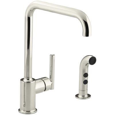 Purist Two-Hole Kitchen Sink Faucet with 8 Spout and Matching Finish Sidespray Finish: Vibrant Polished Nickel