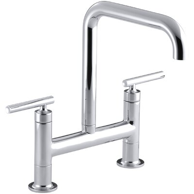 Purist Two-Hole Deck-Mount Bridge Kitchen Sink Faucet Finish: Polished Chrome