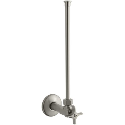 Angle Supply with Stop with Cross Handle and Annealed Vertical Tube Finish: Vibrant Brushed Nickel