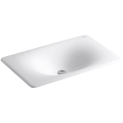 Iron Tones Metal Rectangular Drop-In Bathroom Sink Sink Finish: White