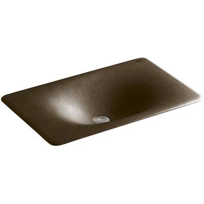 Iron Tones Metal Rectangular Drop-In Bathroom Sink Sink Finish: Black n Tan