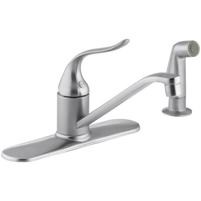 Coralais Three-Hole Kitchen Sink Faucet with 8-1/2 Spout, Matching Finish Sidespray and Lever Handle Finish: Brushed Chrome