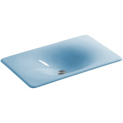 Iron Tones Metal Rectangular Drop-In Bathroom Sink Sink Finish: Vapour Blue